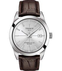 men's tissot gentleman powermatic leather strap watch, 40mm