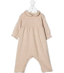 zhoe & tobiah peter pan collar knitted romper - neutrals