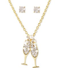 charter club gold-tone crystal & imitation pearl champagne pendant necklace & stud earrings set, created for macy's
