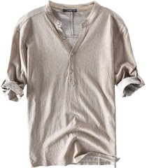 algodón transpirable media mangaverano botones camisetas