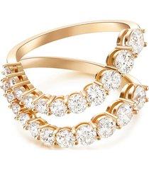 'aria blake' diamond 18k rose gold double band ring