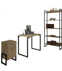 conjunto escritã³rio 3 peã§as mesa 90cm estante 5 prateleiras e gaveteiro 2 gavetas new port f02 nature - mpozenato - unico - dafiti