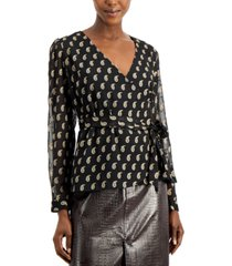 inc petite clip-dot surplice top, created for macy's