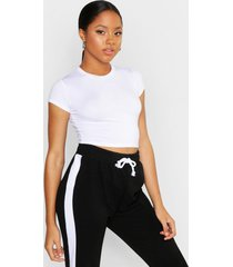 cropped capped sleeve t-shirt, white