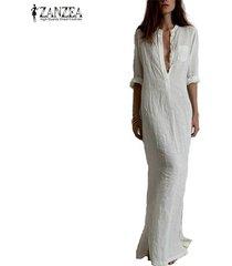 summer casual dress long sleeve deep v linen split solid long maxi dress