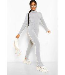 side stripe high neck jumpsuit, grey