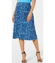 kasper summer leaves printed pull-on skirt