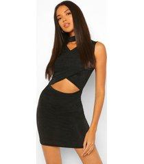 getextuurde strakke mini jurk met gekruiste top, black