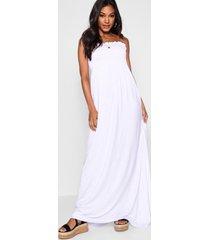 gesmokte bandeau maxi-jurk, wit