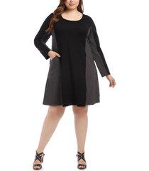 plus size women's karen kane colorblock pocket long sleeve dress