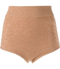cashmere in love ribbed mimie shorts - neutrals