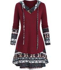 hooded ethnic geo pattern panel tunic top