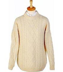unisex 100% merino wool aran sweater white