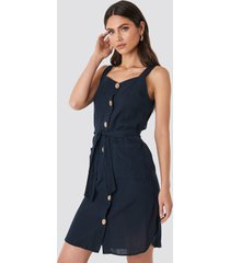 trendyol belted button detailed mini dress - blue