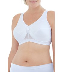 plus size women's glamorise magiclift made to move wireless support bra, size 46h - white