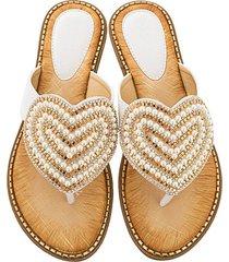 moda amor perlas rhinestone chanclas sandalias para mujeres chanclas