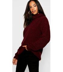 tall roll neck sweater, wine