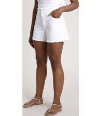 short de sarja feminino cintura super alta com rasgos branco