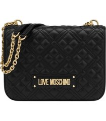 love moschino quilted nappa pu shoulder bag