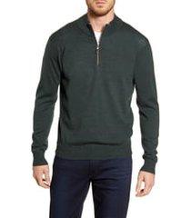 men's peter millar crown soft wool blend quarter zip sweater, size large - green