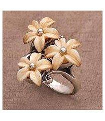 bone cocktail ring, 'plumeria blooms' (indonesia)