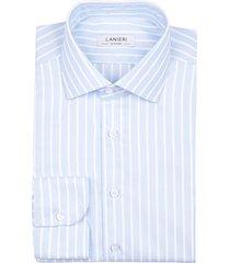 camicia da uomo su misura, canclini, easy iron azzura righe larghe, quattro stagioni | lanieri