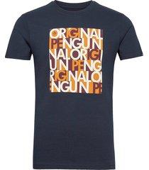 graphic word logo t-shirt t-shirts short-sleeved blå original penguin