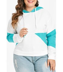 plus size pullover drop shoulder contrast hoodie