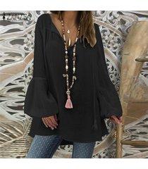 zanzea mujeres más tapa del tamaño tee camiseta llano básico largas de la túnica de la blusa de la manga de bell -negro