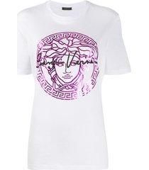 versace medusa head print t-shirt - white