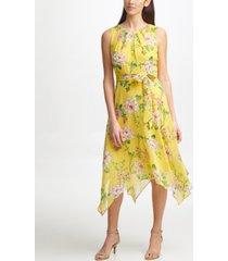 jessica howard petite floral-print handkerchief-hem dress