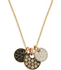 14k tri-tone gold & multicolor diamond pendant necklace