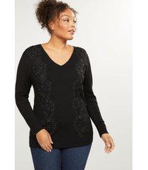 lane bryant women's lace applique sweater 26/28 black