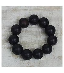 ebony wood beaded stretch bracelet, 'meditative style' (ghana)