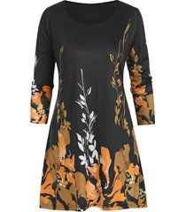 floral plus size three quarter sleeve tunic top