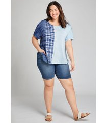 lane bryant women's curvy fit high-rise denim bermuda short - dark wash 20 medium denim