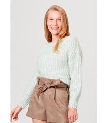 blusão feminino em tricô de acrílico com mangas amplas - feminino