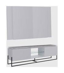 conjunto rack 2 portas e painel vesta 136cm para tv até 58 polegadas thassos/branco/preto artesano