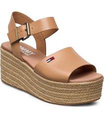natural flatform sandal sandalette med klack espadrilles brun tommy hilfiger