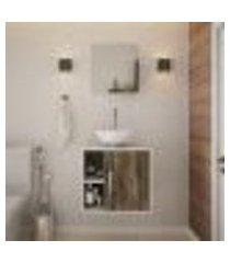 conjunto para banheiro gabinete com cuba redonda r30 e espelheira soft 500 branco com carvalho dark