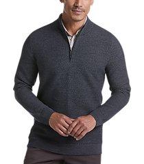 joseph abboud navy wool blend modern fit 1/4-zip sweater