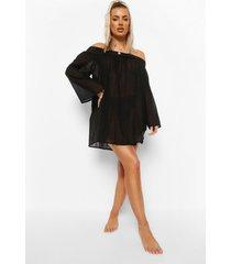 linnen look off shoulder strand jurk, black