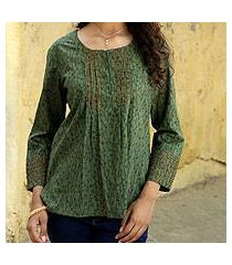 cotton blouse, 'green quest' (india)