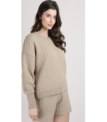 suéter de tricô feminino mindset oversized texturizado decote v bege escuro