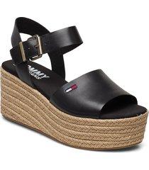 natural flatform sandal sandalette med klack espadrilles svart tommy hilfiger