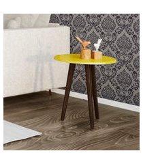 mesa lateral redonda móveis bechara brilhante com pés palito amarelo