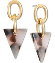 alfani gold-tone link & tortoise-look triangle drop earrings, created for macy's