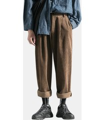tuta invernale da uomo in velluto a coste multi tasche dritto tinta unita casual pantaloni