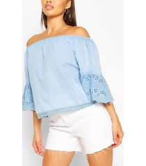 off the shoulder broderie trim woven top, light blue