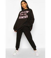 oversized 'rolling met the homies' sweater met tekst, black